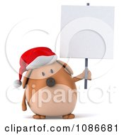 Clipart 3d Chubby Christmas Dog With A Sign 2 Royalty Free CGI Illustration