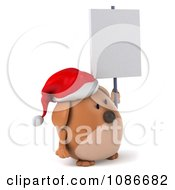 Clipart 3d Chubby Christmas Dog With A Sign 3 Royalty Free CGI Illustration