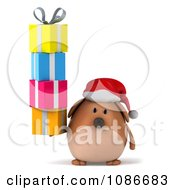 Clipart 3d Chubby Christmas Dog With A Stack Of Gifts Royalty Free CGI Illustration