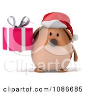 Clipart 3d Chubby Christmas Dog Holding A Gift 1 Royalty Free CGI Illustration