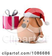 Clipart 3d Chubby Christmas Dog Holding A Gift 2 Royalty Free CGI Illustration