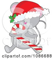 Clipart Cute Christmas Mouse Holding A Candy Cane And Wearing A Santa Hat Royalty Free Vector Illustration