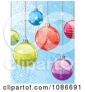 Clipart Blue Snowflake Background Of Christmas Baubles Royalty Free Vector Illustration