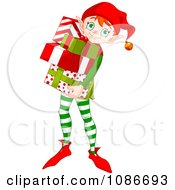 Clipart Christmas Elf Carring Wrapped Gifts Royalty Free Vector Illustration by Pushkin