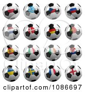 Clipart 3d Soccer Championship Of 2012 Balls With Flags Royalty Free CGI Illustration