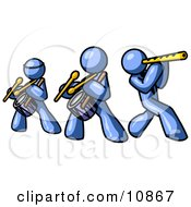 Three Blue Men Playing Flutes And Drums At A Music Concert Clipart Illustration