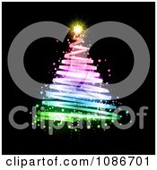 Clipart Rainbow Spiral Christmas Tree Over Black Royalty Free Vector Illustration