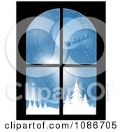 Clipart Window With A Scene Of Santa And His Reindeer Flying Royalty Free Vector Illustration