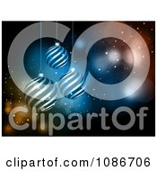 Clipart 3d Sparkly And Spiral Christmas Bauble Background Royalty Free Vector Illustration