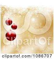 Clipart 3d Golden Snowflake Christmas Bauble Background Royalty Free Vector Illustration