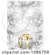 Clipart 3d Silver Christmas Gift And Snowflake Background Royalty Free Vector Illustration
