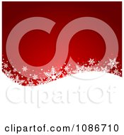 Clipart Red And White Wave Snowflake Christmas Background Royalty Free Vector Illustration