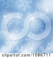 Clipart Blue Sparkly Snowflake Christmas Background Royalty Free Vector Illustration