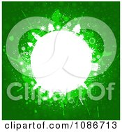 Clipart Grungy Green And White Christmas Sphere Royalty Free Vector Illustration