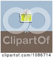 Green Christmas Baby Shower Or Birthday Gift Over Blue Polka Dots And Brown Stripes