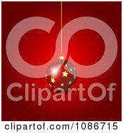 Clipart 3d Red Ray And Star Christmas Bauble Background Royalty Free Vector Illustration
