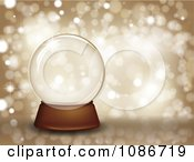 Clipart 3d Clear Snow Glob Eover Glittery Gold Royalty Free Vector Illustration