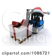 Clipart 3d Christmas Delivery Gift On A Blue Forklift Royalty Free CGI Illustration