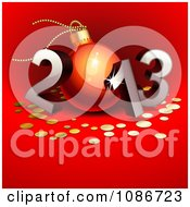 Clipart 3d 2012 With The 0 As A Christmas Bauble On Red Royalty Free Vector Illustration by Oligo