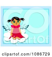 Girl Angel Sitting On A Cloud Over Blue