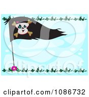 Clipart Pirate Flag Frame Over Blue Royalty Free Vector Illustration by bpearth