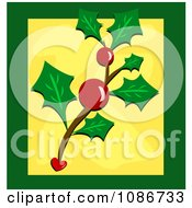 Christmas Holly And Berries Over Green And Yellow