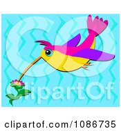 Clipart Hummingbird Gathering Flower Nectar Over Blue Royalty Free Vector Illustration