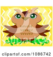 Clipart Happy Owl On Yellow Royalty Free Vector Illustration by bpearth