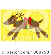 Flying Christmas Reindeer Over Yellow