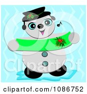 Snowman Holding A Banner And Singing Christmas Carols
