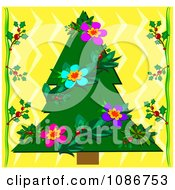 Tropical Christmas Tree With Floral Garland And Holly On Yellow