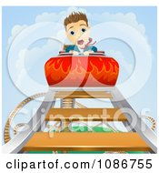 Clipart Businessman Screaming On A Roller Coaster Ride Royalty Free Vector Illustration by AtStockIllustration
