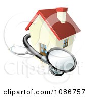 Clipart 3d Stethoscope And House Royalty Free Vector Illustration
