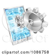 3d Silver Gears And A Touch Screen Cell Phone