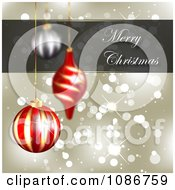 Clipart 3d Gold Merry Christmas Sparkle Background With Ornaments Royalty Free Illustration by vectorace