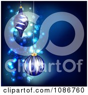 Clipart 3d Blue Sparkle Christmas Background With Ornaments Royalty Free Illustration by vectorace