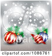Clipart 3d Silver Sparkle Christmas Background With Ornaments Royalty Free Illustration