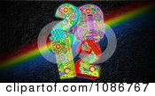 Clipart Funky 2012 New Year Over A Rainbow On Black Royalty Free CGI Illustration by MacX
