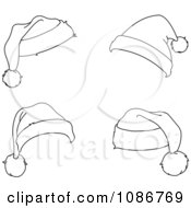Clipart Four Outlined Santa Hats Royalty Free Vector Illustration