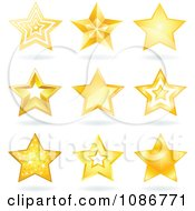 Clipart Golden Star And Shadow Icons Royalty Free Vector Illustration