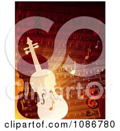 Clipart Orange And Red Sheet Music And Violins Royalty Free Vector Illustration by Eugene