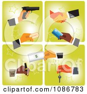 Poster, Art Print Of Business Hands With A Gun Ticket Card Cash Pen Key And Shaking