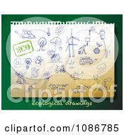Clipart Blue Ink Ecology Sketches On Green Royalty Free Vector Illustration by Eugene