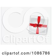 Clipart 3d Gift Box With A Red Ribbon On A Shaded Background With Copyspace Royalty Free Vector Illustration by Eugene