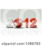 Clipart 3d White And Red 2012 With A Globe Royalty Free CGI Illustration