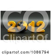 Clipart 3d Black And Yellow 2012 With A Globe Royalty Free CGI Illustration