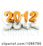 Clipart 3d White And Yellow 2012 With A Globe Royalty Free CGI Illustration