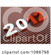 Clipart 3d Red 2012 On Diagonal Stripes Royalty Free CGI Illustration