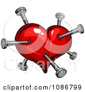 Clipart Red Heart Stabbed With Pins Royalty Free Vector Illustration