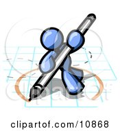Blue Man Holding A Pencil And Drawing A Circle On A Blueprint Clipart Illustration